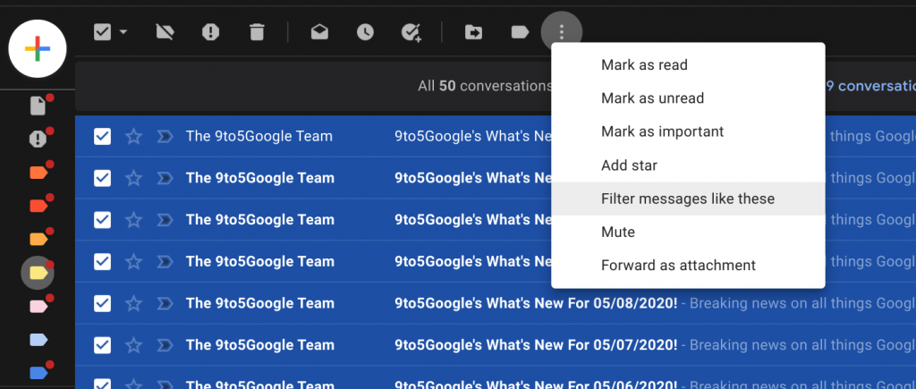 filter messages to get rid of newsletters in your inbox