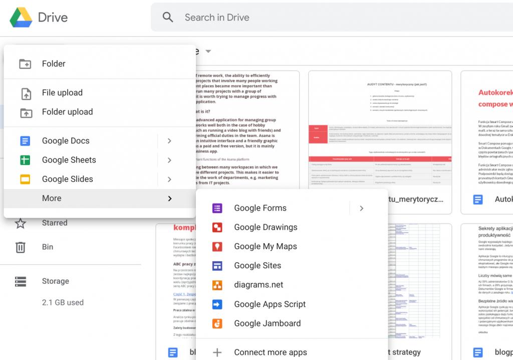 przesyłanie plików na dysk google