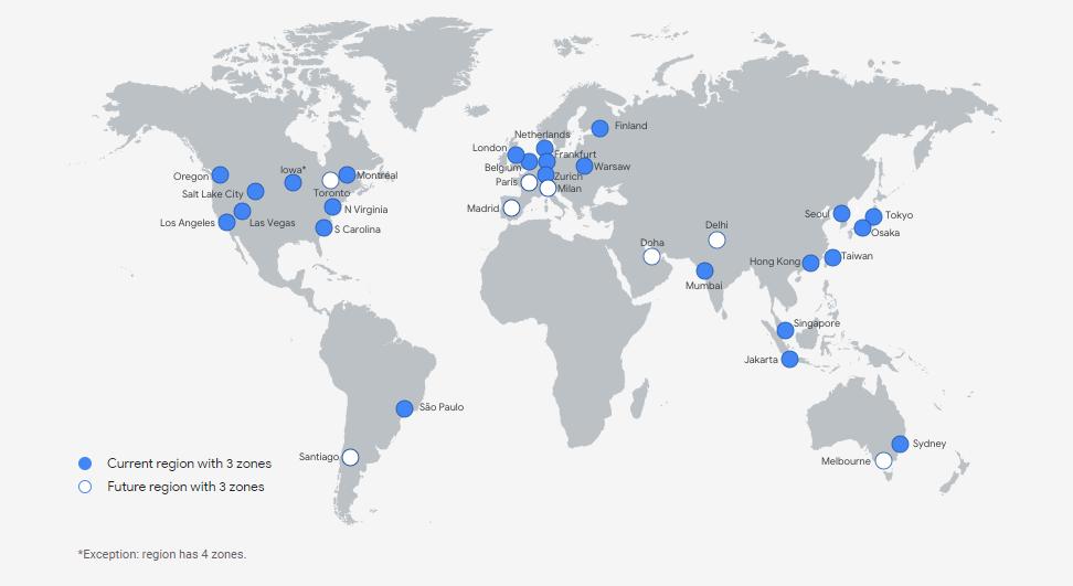 mapa regionów google cloud
