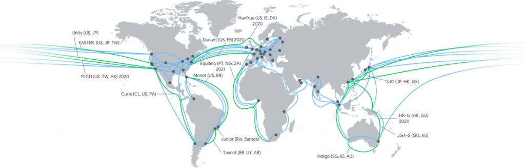 mapa data center i sieci Google